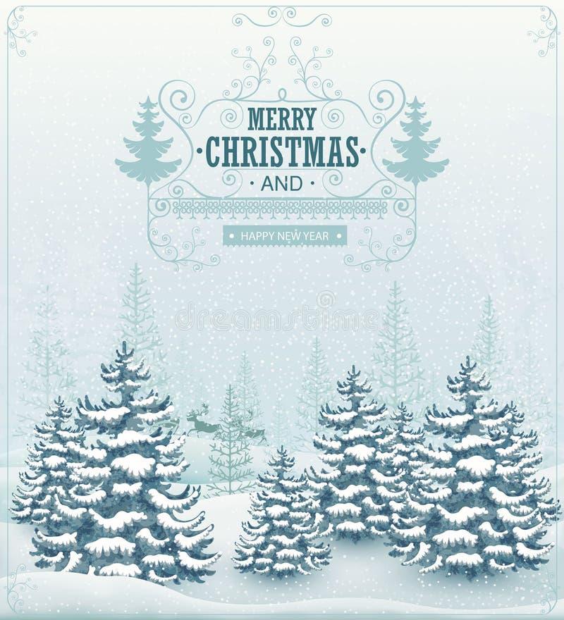 O inverno da floresta do Feliz Natal e do ano novo feliz ajardina com queda de neve e enfeita o vetor do vintage ilustração royalty free