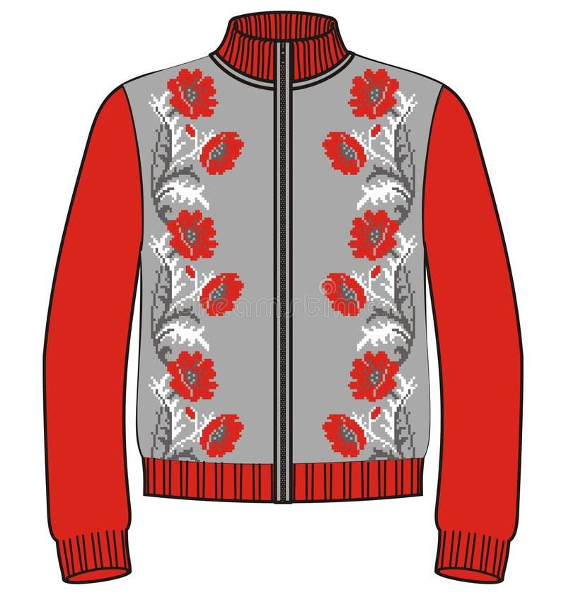 O inverno da mulher fez malha papoilas vermelhas da camiseta do casaco de lã, camiseta Teste padrão de flor para a confecção de m ilustração do vetor
