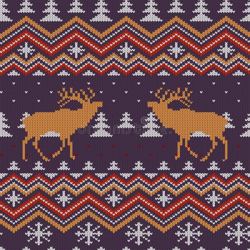 O inverno do Natal fez malha o teste padrão sem emenda de lã com veados vermelhos na floresta coberto de neve do abeto vermelho ilustração royalty free