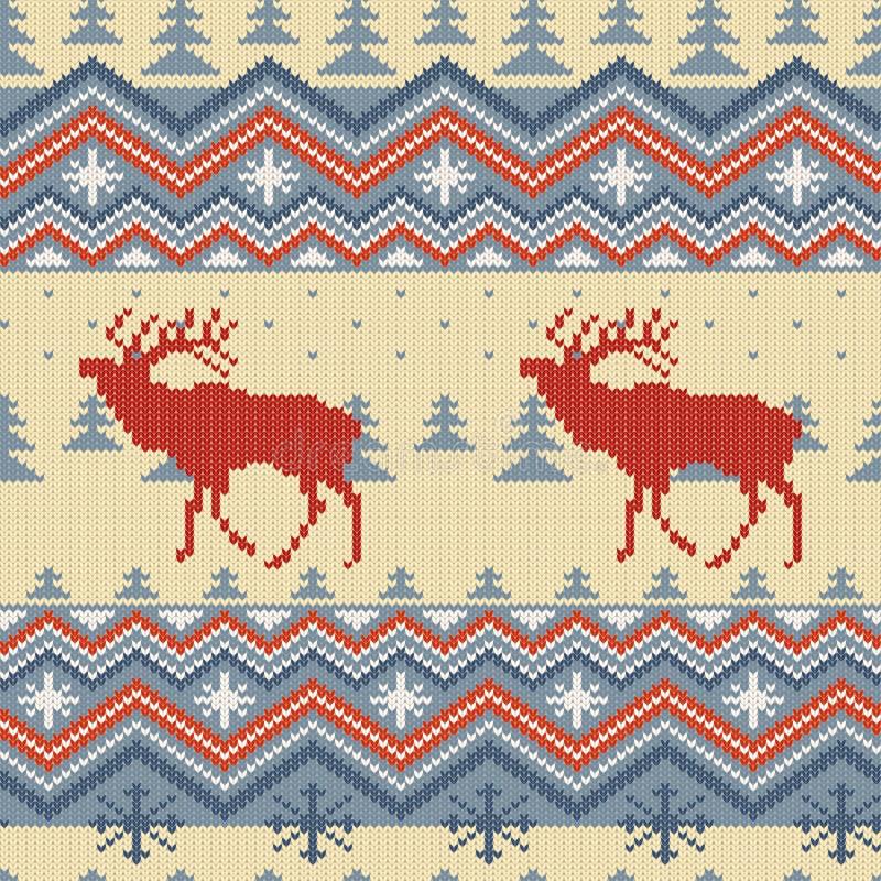 O inverno do Natal fez malha o teste padrão sem emenda de lã com veados vermelhos na floresta dentro azul dos abetos ilustração royalty free