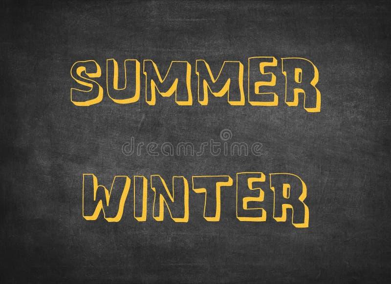 O inverno do ver?o tempera letras frias quentes das crian?as ilustração do vetor