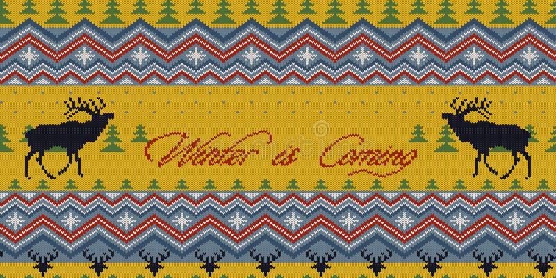 O inverno está vindo O inverno do Natal fez malha o teste padrão sem emenda de lã com veados vermelhos na floresta do abeto ilustração royalty free