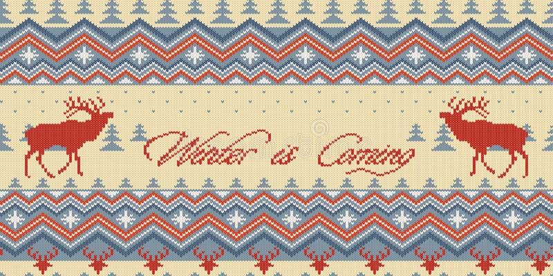 O inverno está vindo O inverno do Natal fez malha o teste padrão sem emenda de lã com veados vermelhos na floresta das coníferas ilustração do vetor