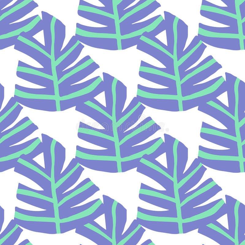 O inverno a mão livre simples deixa o teste padrão sem emenda Textura ex?tica da planta ilustração do vetor