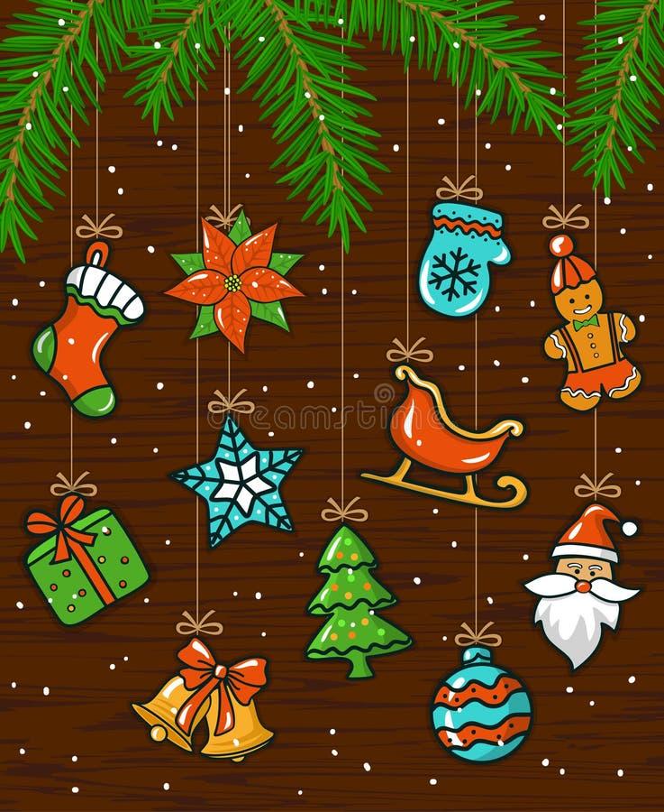 O inverno sazonal do Feliz Natal e do ano novo feliz carda o fundo com as festões das cordas de suspensão com elementos da decora ilustração stock