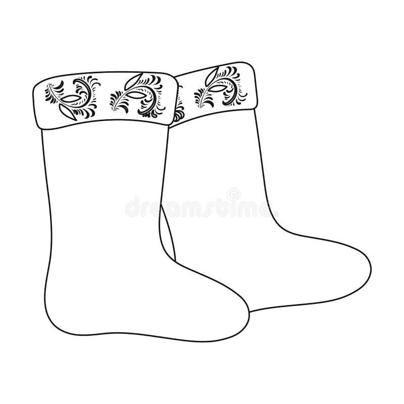 O inverno sentiu o ícone das botas no estilo do esboço isolado no fundo branco Ilustração do vetor do estoque do símbolo do país  ilustração royalty free