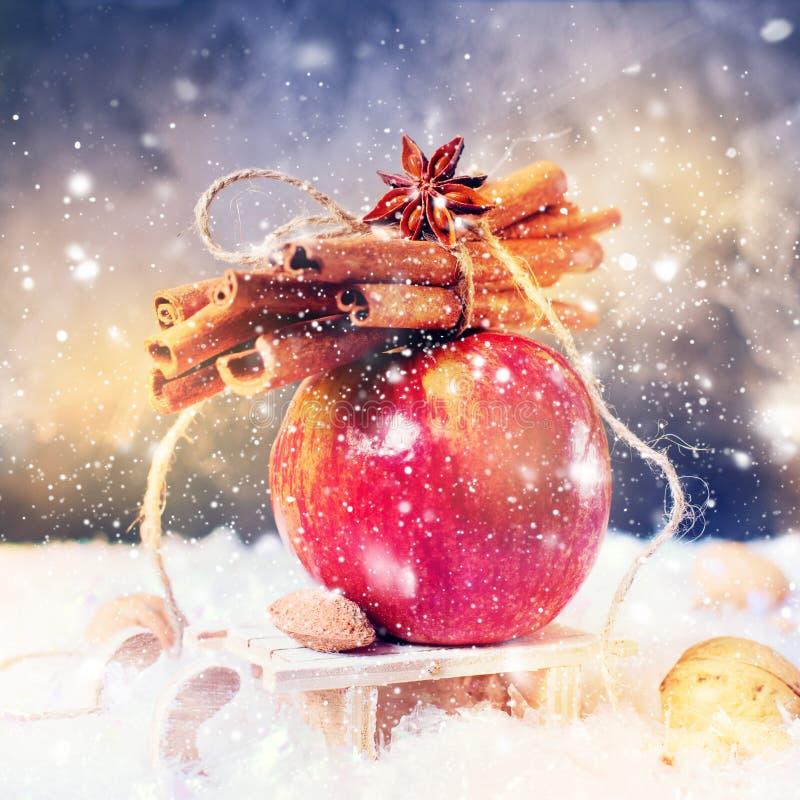 O inverno vermelho Apple ramifica canela de varas Anise Small Sledge imagens de stock