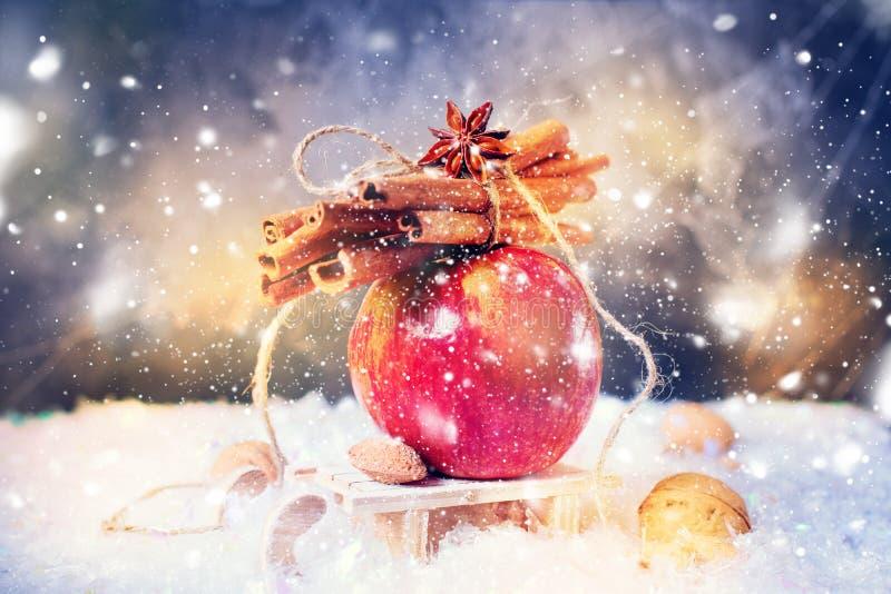O inverno vermelho Apple ramifica canela de varas Anise Small Sledge foto de stock