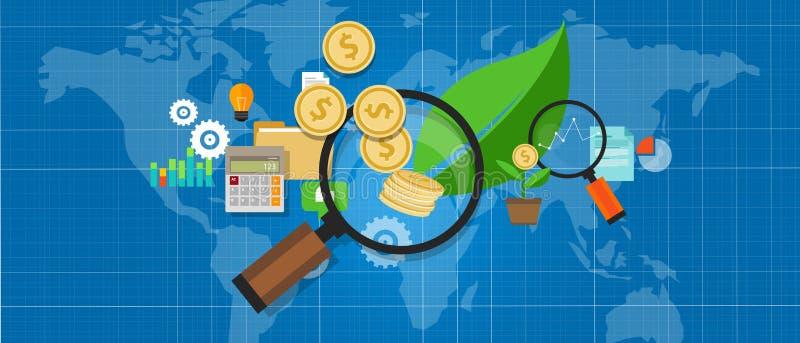 O investimento investe o investation da folha da árvore da lente de aumento do dinheiro do crescimento ilustração do vetor