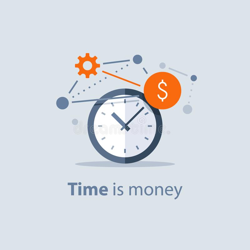 O investimento a longo prazo, Tempo é dinheiro conceito, planeamento do futuro financeiro, economias da pensão financia, soluções ilustração royalty free