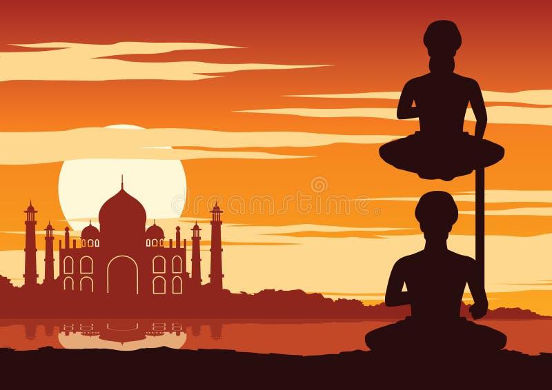 O iogue da Índia executa a ioga perto do marco famoso chamado Taj mahal no tempo do por do sol ilustração royalty free