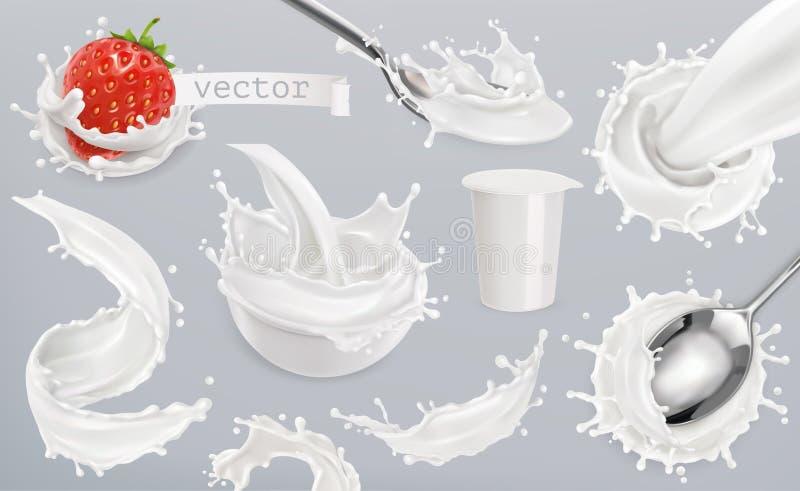 O iogurte, leite espirra Ajuste elementos do vetor 3d ilustração stock
