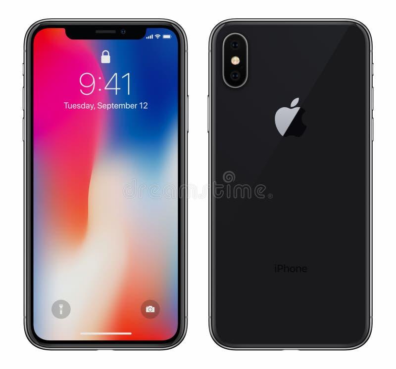 O iPhone preto X de Apple com iOS 11 lockscreen a parte anterior e o verso isolados no fundo branco imagens de stock royalty free
