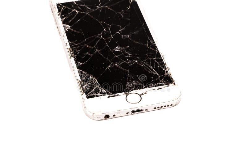 O iPhone quebrado 6S tornou-se pela empresa Apple Inc imagens de stock
