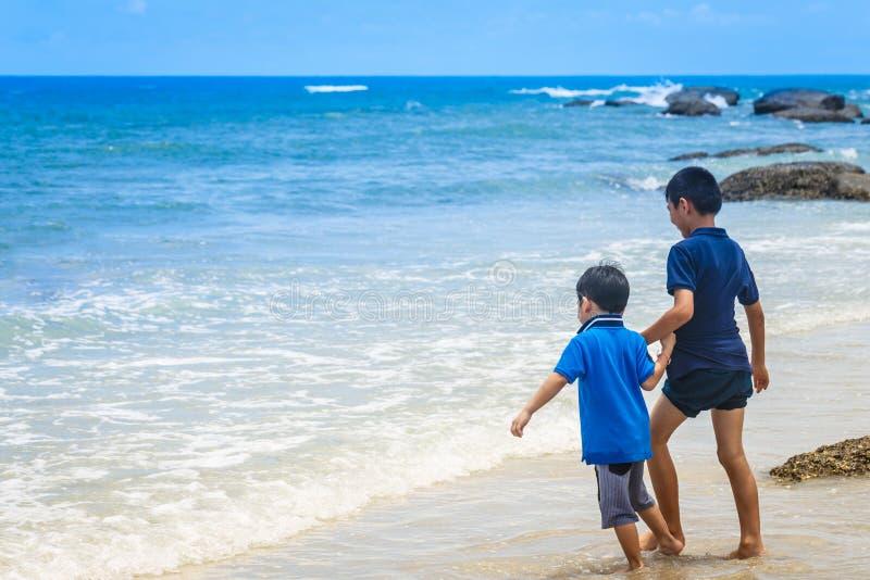 O irmão e o irmão andam na praia no beira-mar tropical fotos de stock royalty free