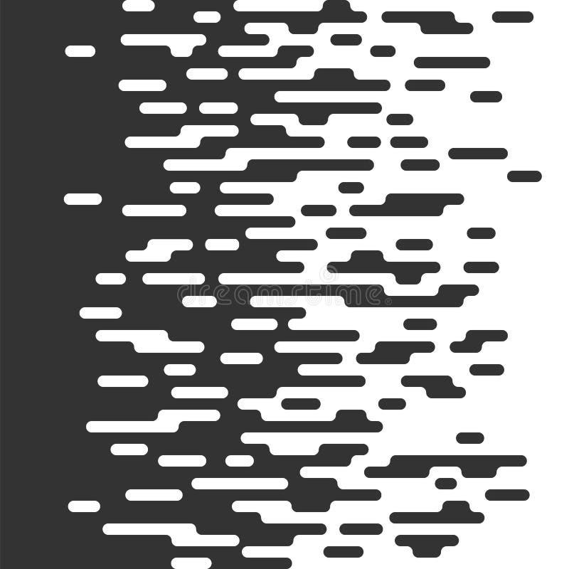 O Irregular preto e branco sem emenda arredondado alinha o fundo hal ilustração stock