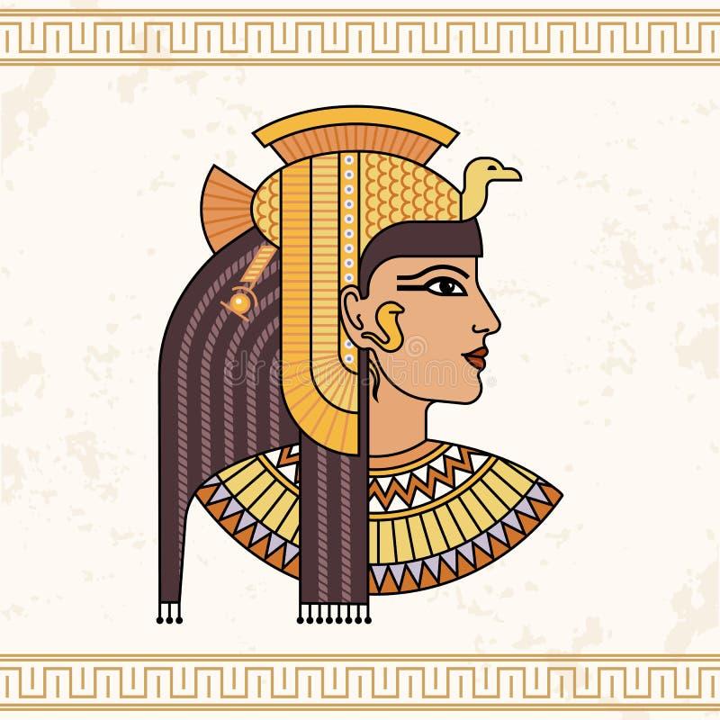 O Isis egípcio da deusa Retrato da animação da mulher egípcia bonita ilustração royalty free