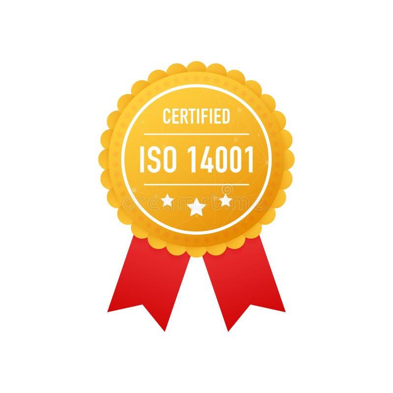 O ISO 14001 certificou a etiqueta dourada no fundo branco Ilustração do vetor ilustração do vetor