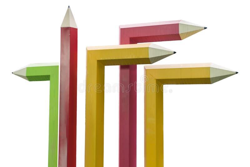 O isolado do conceito do lápis das cores imagens de stock