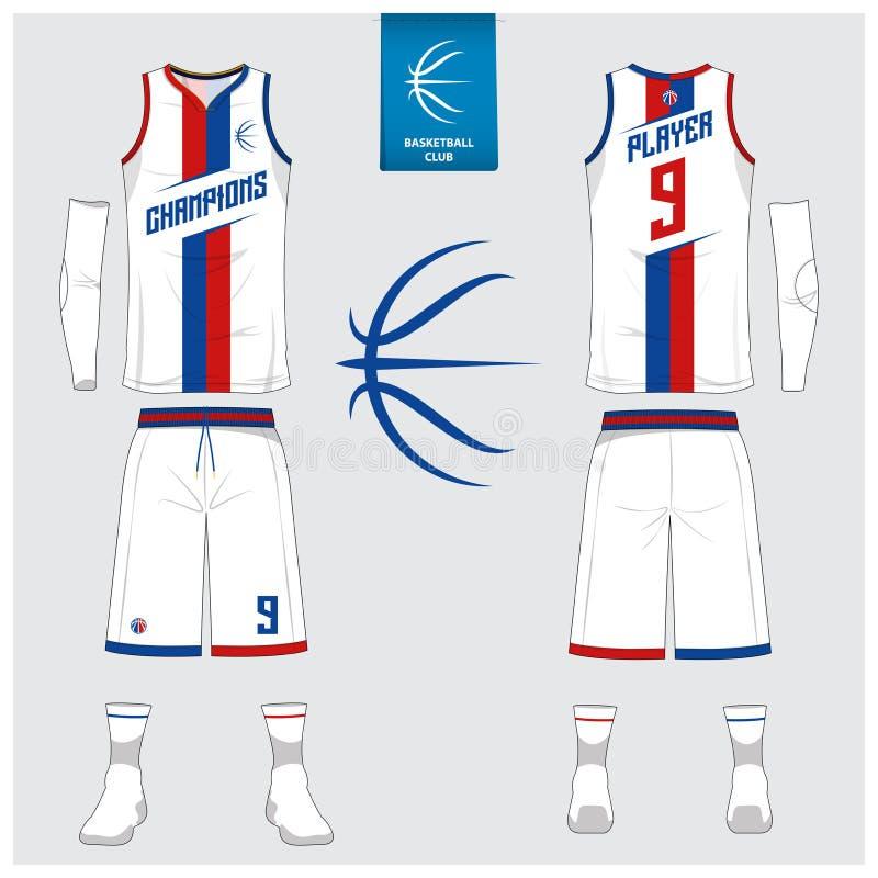 O jérsei do basquetebol, short, golpeia o molde para o clube do basquetebol Uniforme dianteiro e traseiro do esporte da vista Zom ilustração do vetor