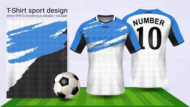O jérsei e o t-shirt de futebol ostentam o molde do modelo, projeto gráfico para o jogo do futebol ou os uniformes do activewear, ilustração stock