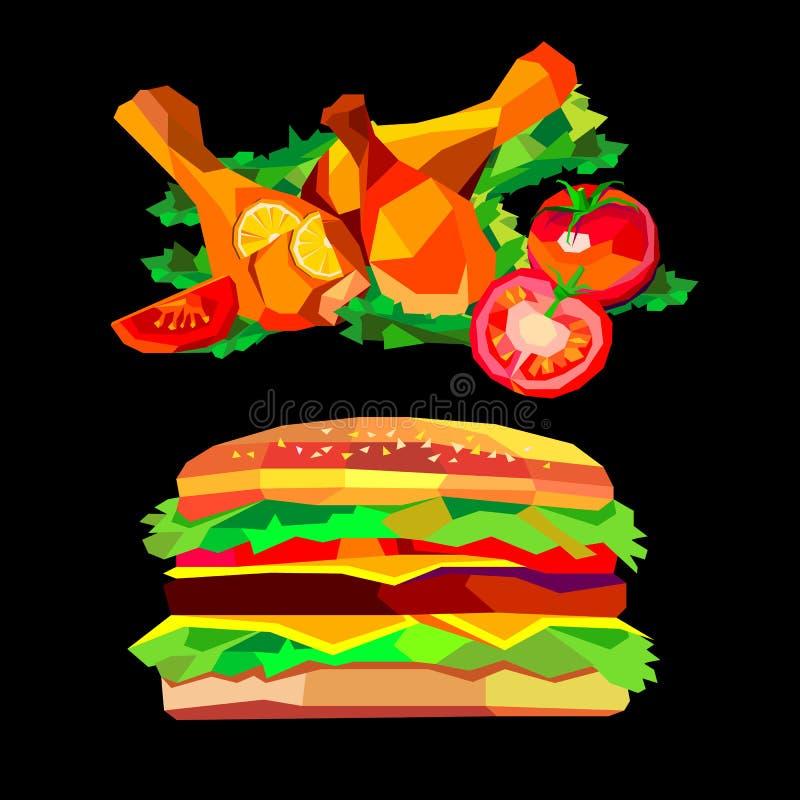 O jantar da galinha cozeu o cheeseburger roasted do Hamburger do hamburguer do alimento ilustração do vetor