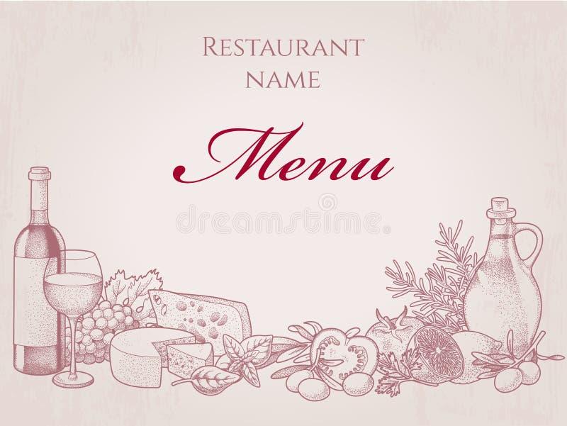 O jantar de casamento com carne do rolo fumou e tomates ilustração stock