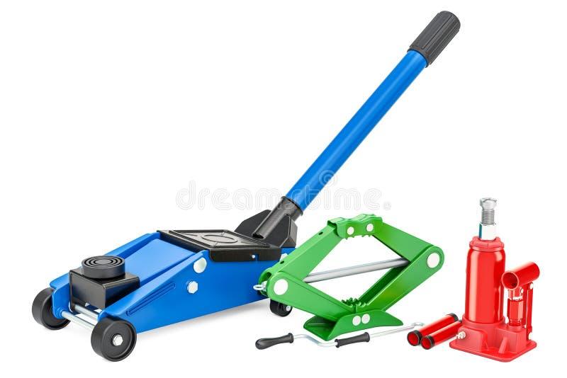 O jaque hidráulico do assoalho, o jaque hidráulico da garrafa e scissor o jaque 3d ilustração stock
