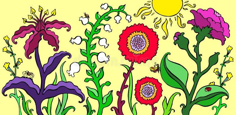 O jardim colorido floresce na ilustração brilhante do vetor do fundo do verão ilustração stock