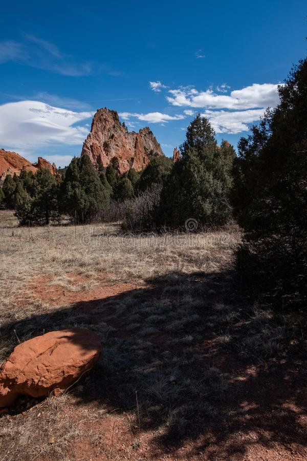 O jardim de Colorado Springs das montanhas rochosas dos deuses aventura-se a fotografia do curso fotos de stock