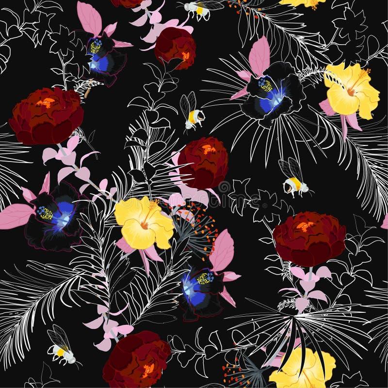 O jardim inacabado do verão escuro bonito floresce o esboço da noite dentro ilustração do vetor