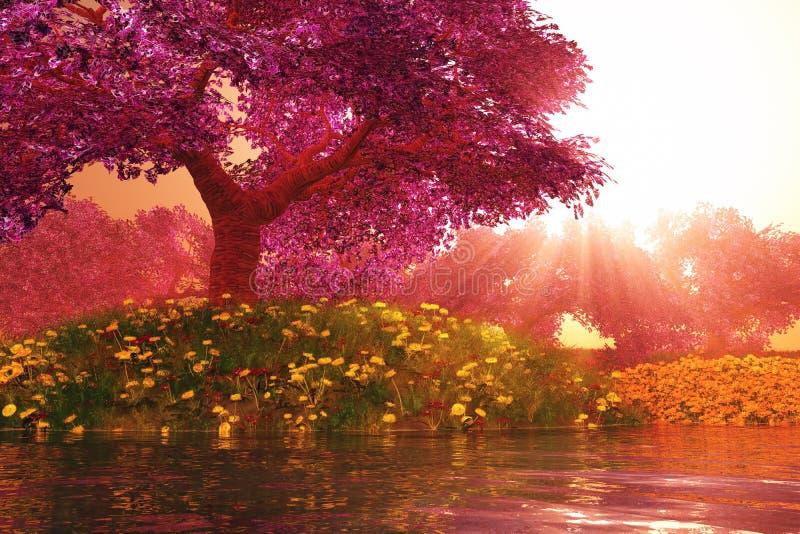 O jardim japonês 3D cartoony das flores de cerejeira misteriosas rende ilustração stock