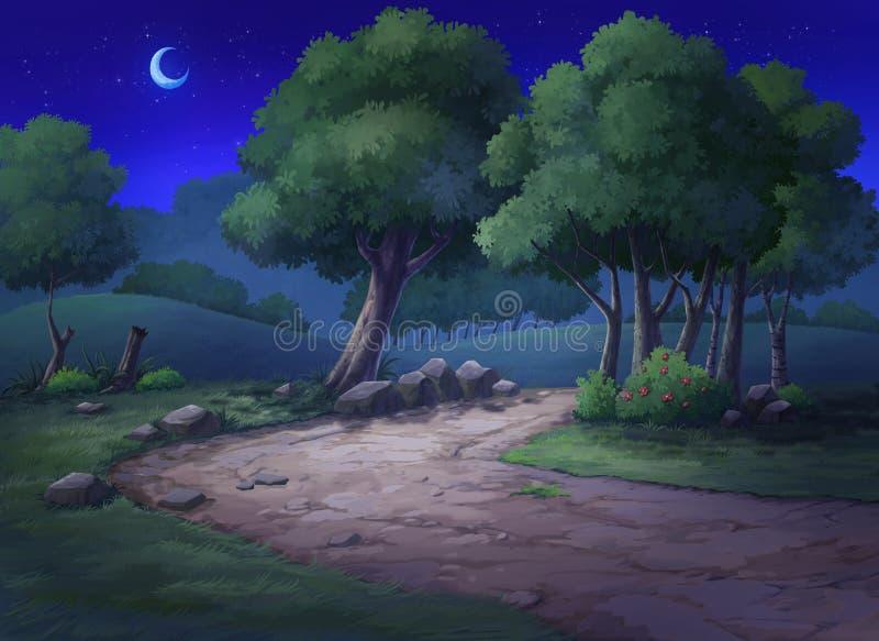 O jardim tem um monte e árvores na noite ilustração do vetor