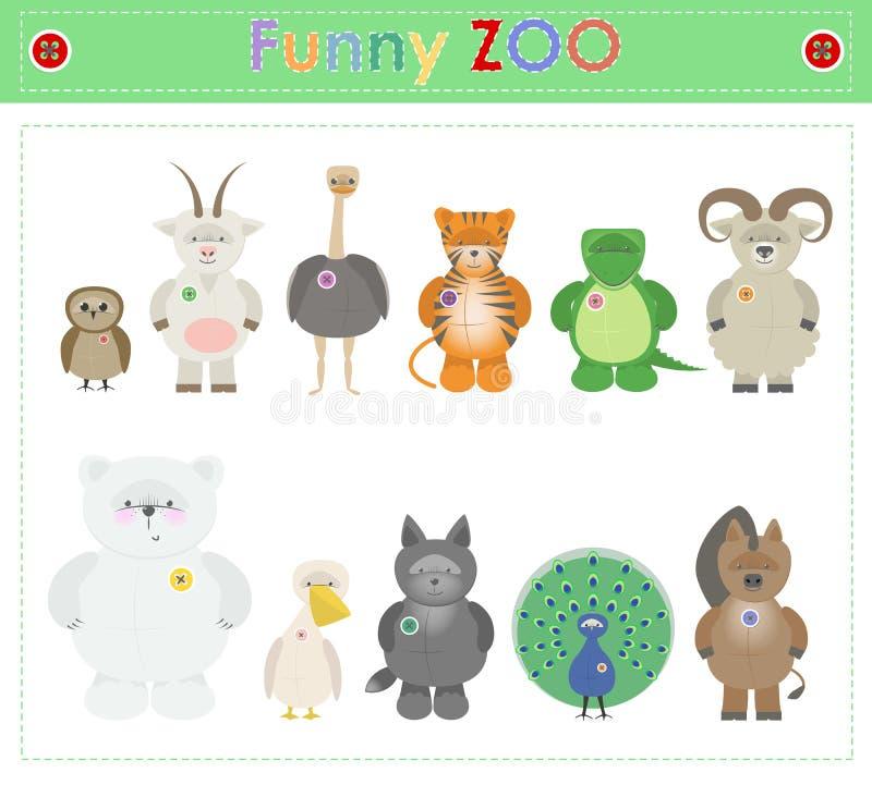 O jardim zoológico animal, peça três animais pequenos engraçados do luxuoso desenhos animados Vecto ilustração do vetor