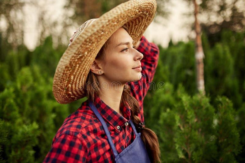 O jardineiro de encantamento da menina em um chapéu de palha está no berçário-jardim com muitos thujas em um dia ensolarado morno fotos de stock