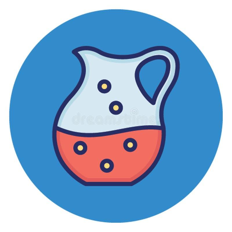 O jarro, água isolou o ícone do vetor que pode facilmente alterar ou editar ilustração stock