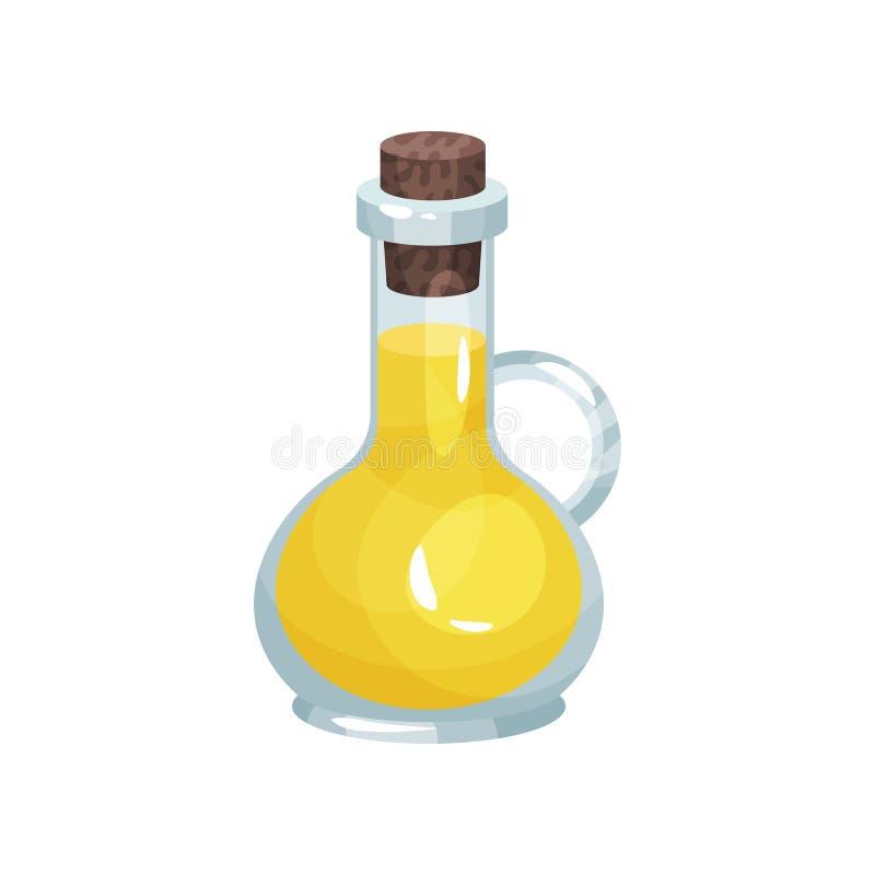 O jarro de vidro pequeno com batoque afilado encheu-se com o óleo de colza cozinhando o ingrediente Produto orgânico e saudável t ilustração do vetor