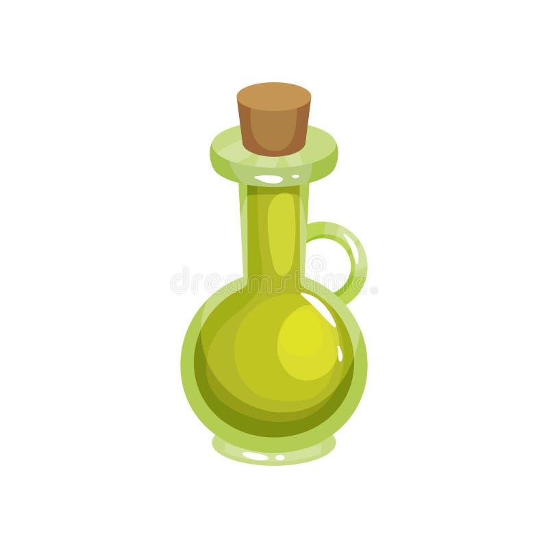 O jarro de vidro transparente com batoque afilado encheu-se com o azeite Ingrediente para o cozimento e os cuidados com a pele Or ilustração stock