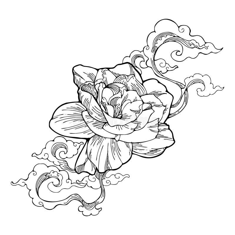 O jasmim de cabo, o jasmim da gardênia e a nuvem do aroma projetam pela tatuagem do desenho da tinta com fundo isolado branco ilustração do vetor