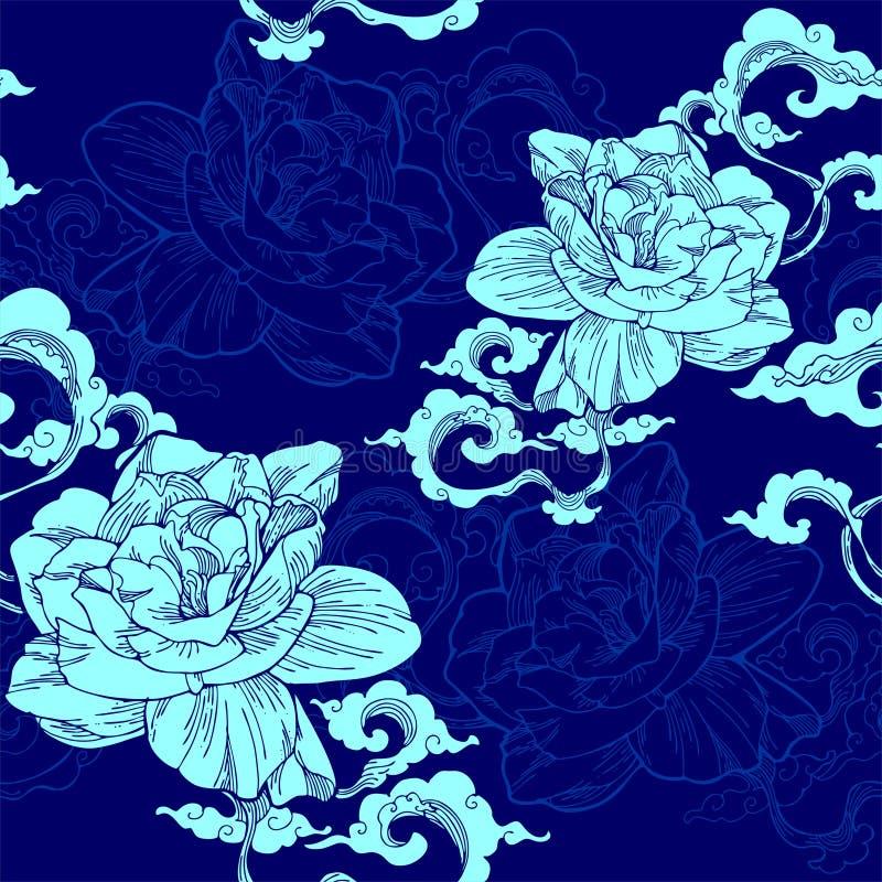 o jasmim de cabo oriental e e a nuvem do aroma para o teste padrão sem emenda com azul-céu tonificam ilustração stock