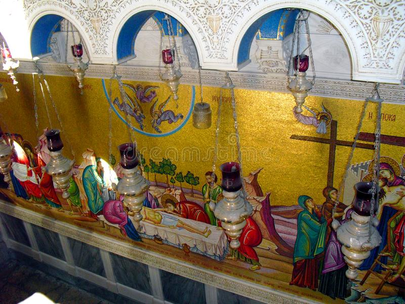 O JERUSALÉM, ISRAEL Church do santamente enterra Vista para dentro fotos de stock
