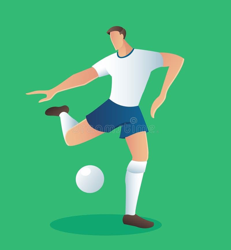 O jogador da ação do futebol, jogador de futebol comemora a ilustração do vetor do objetivo ilustração stock