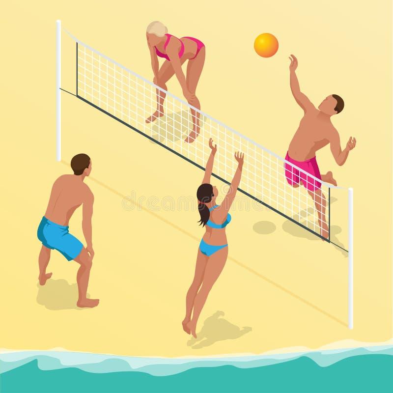 O jogador da bola da salva da praia salta na rede e tenta blocos a bola Conceito ativo do feriado do verão Vetor isométrico ilustração do vetor