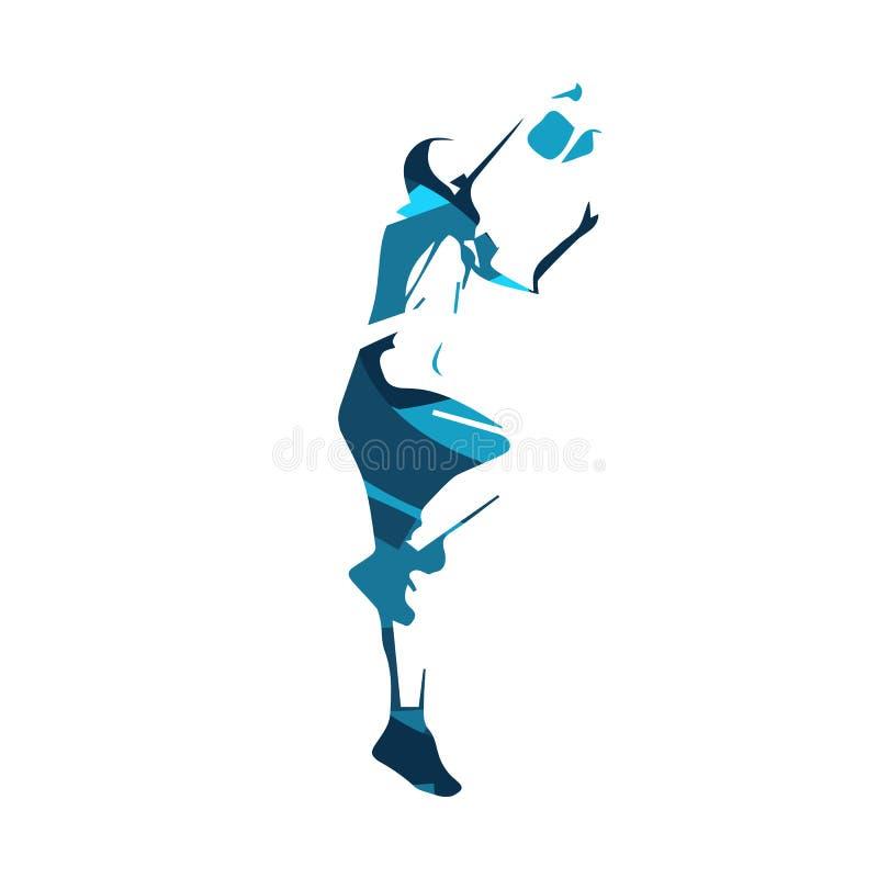 O jogador de basquetebol, azul isolou a ilustração ilustração stock