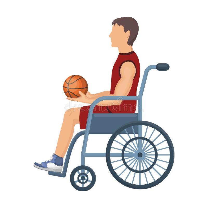O jogador de basquetebol desabilitou Único ícone do basquetebol na Web da ilustração do estoque do símbolo do vetor do estilo dos ilustração do vetor