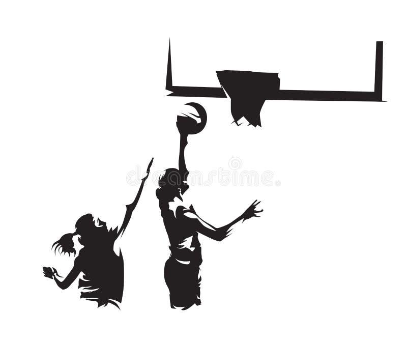 O jogador de basquetebol dispara na bola na cesta ilustração stock