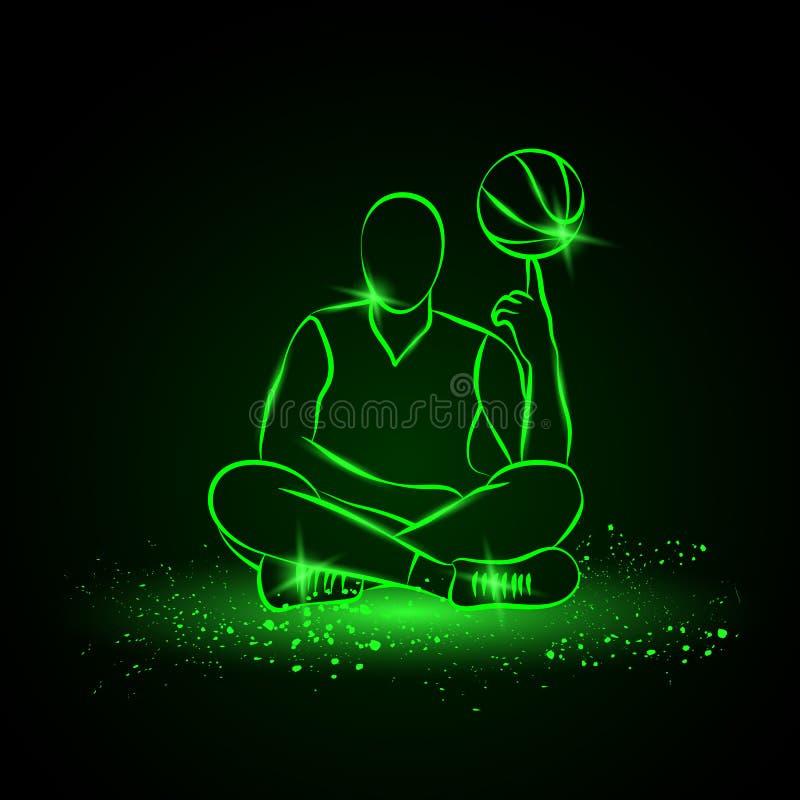 O jogador de basquetebol gerencie a bola Estilo de néon ilustração royalty free