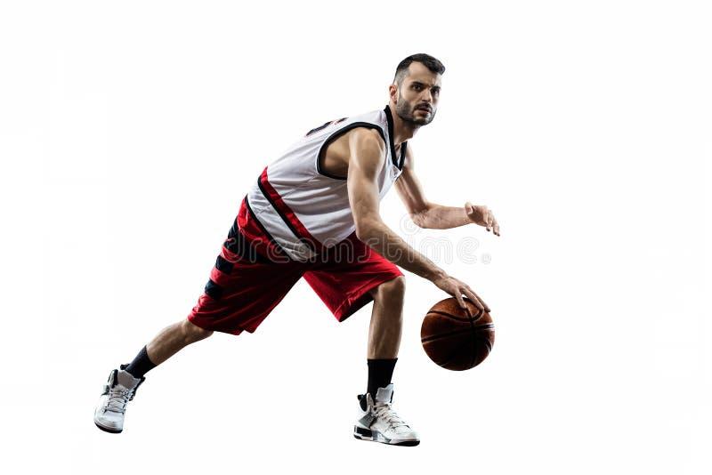 O jogador de basquetebol isolado na ação está voando imagens de stock royalty free