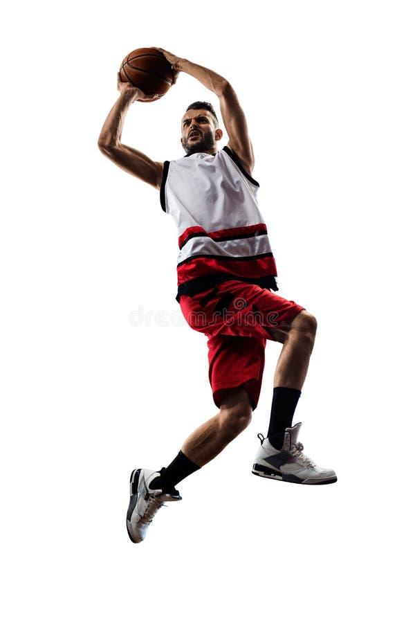 O jogador de basquetebol isolado na ação está voando foto de stock royalty free