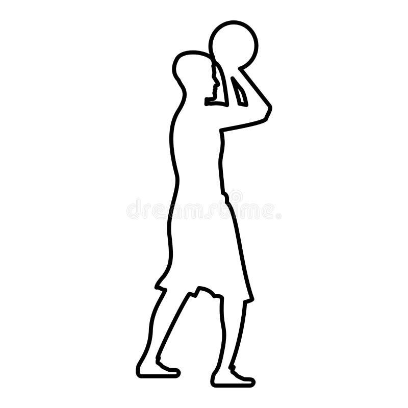 O jogador de basquetebol joga um esboço de tiro da ilustração de cor do preto do ícone da opinião lateral da bola do homem do bas ilustração royalty free